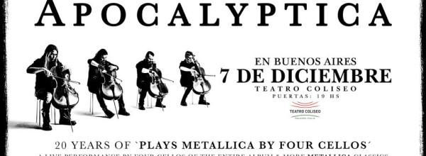 """APOCALYPTICA Celebra los 20 años de """"Plays Metallica By four Cellos"""" y nos visita en Argentina"""